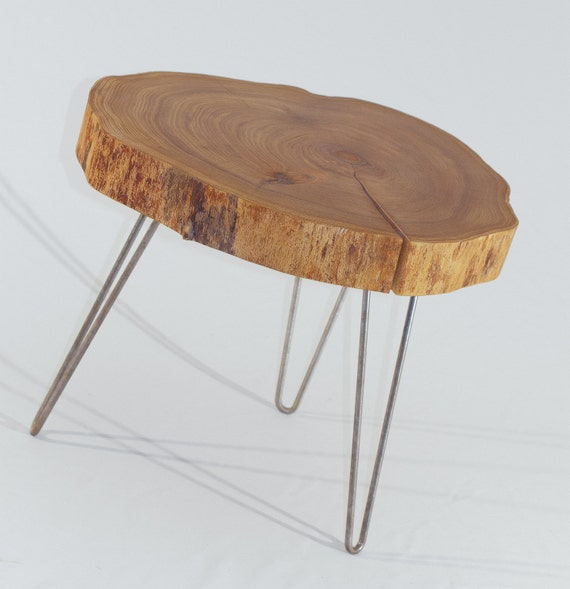 Round Wood Hairpin Coffee Table: Items Similar To Natural Live Edge Round Slab Side Table