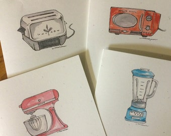Set of four greeting cards from original watercolor kitchen appliance designs - blank inside