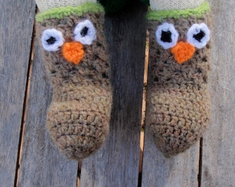 Baby owl socks PDF crochet pattern