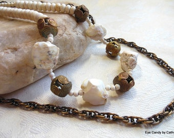 Rustic necklace, African antique brass, druzy white agate, bronze chain, long necklace. two strand