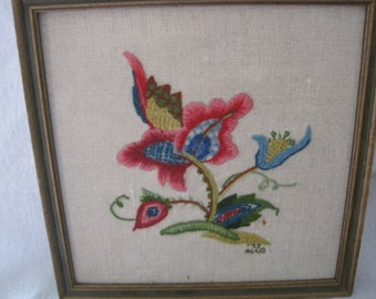 Vintage Framed Colorful Needlepoint Flower Picture