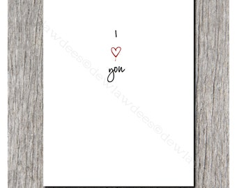 I 'Heart' You - Love Note, Sweet Nothing, Valentine Card - Single Folded Card