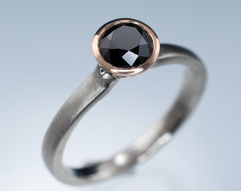 Black Diamond  Engagement Ring, 14k Rose Gold Bezel Solitaire with Palladium, Platinum or White Gold Band, Modern Mixed Metal Ring
