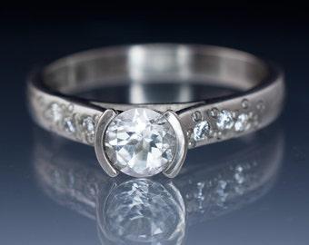 White Sapphire Engagement Ring, ethical Diamond Star Dust Textured Band,Palladium, Platinum, White Gold, Rose Gold