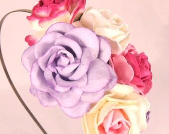 Pink & Purple Floral Headband Flower Fascinator Vintage Wedding Party Bridal Accessory Bridesmaid statement