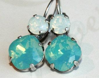 Pacific Opal Swarovski Earrings, Cushion Cut Swarovski earrings, Pacific Opal Earrings, Swarovski Crystal, Rhinestone earrings