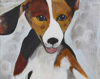 Beagle mutt painting, dog, small 8x8, happy