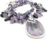 Amethyst Gemstone Chunky Statement Necklace - Large Amethyst Pendant - Purple Necklace - Artisan Jewelry