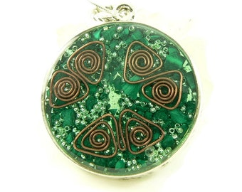 Orgone Energy Pendant - Double Sided Open Pendant in Silver with Malachite - Quartz Crystal - Energy Jewelry - Artisan Jewelry