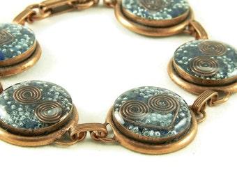 Orgone Energy Circle Link Bracelet in Copper with Lapis Lazuli - Artisan Jewelry - Orgone Energy Jewelry