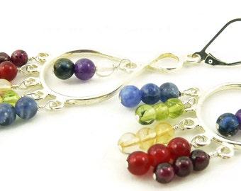 Chakra Rainbow Multi Gemstone Chandelier Long Dangle Earrings - Balance and Healing - Sterling Silver - Artisan Jewelry