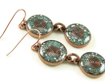 Orgone Energy Earrings - Turquoise and Copper Gemstone Dangle Earrings - Orgone Energy Jewelry - Positive Energy Generator - Artisan Jewelry