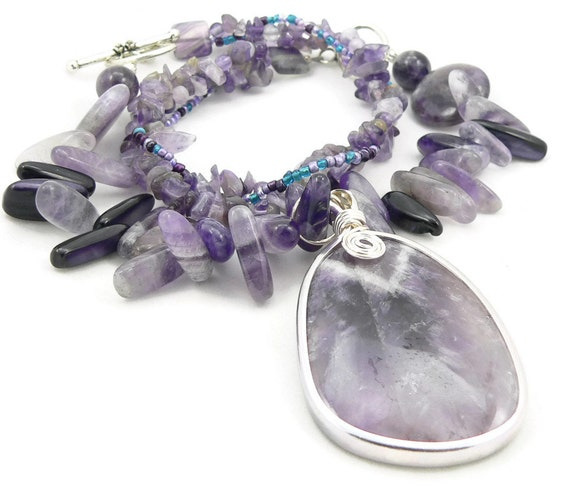 amethyst gemstone chunky statement necklace large amethyst