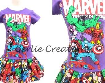 Marvel Comics Dress, Girls Dress, DC Comics Dress, Superhero Dress - 2 Left Last Size L 10/12