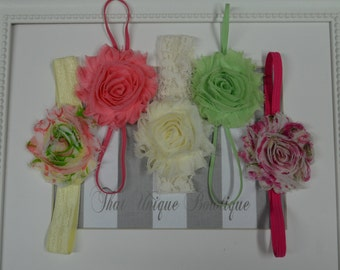 Set of Five Shabby Rosette Headbands...Photography Props...Baby Girl Headbands...Shabby Chic Rosettes...Newborn Headbands...Set of Headbands