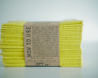 Family Cloth Wipes,  Baby Cloth Wipes, Eco Diaper Wipes, Cloth Wipes, Reusable Cloth Wipes, Solid Yellow Single Layer Wipes 1Ply