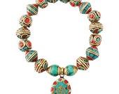 Om bracelet. Yoga bracelet. Aquarela by Ale. Tibetan Beads.