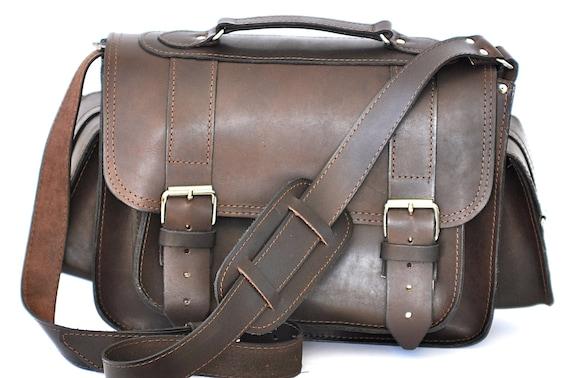 Large leather camera bag / Messenger /Women-Men dark brown leather bag / Photo case / Shoulder bag