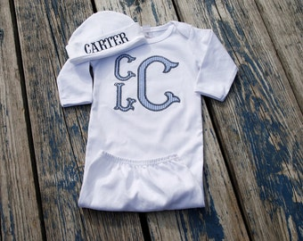 Baby Boy  Gown and Beanie Newborn thru 12 months