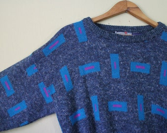 1980's Indie Le Tigre Sweater - Hipster - Vintage Blue Sweater - Geometric Print Sweater - Mens Medium