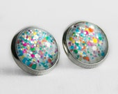 Rainbow Confetti Frosting Post Earrings in Silver - White with Rainbow Multicolor Mixed Size Glitter Stud Earings