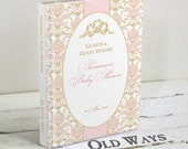 Pink and Gold Baby Shower Guest Book, Wishes for Baby, Baby Advice Book, Elegant Vintage Damask, Custom Personalized for a Baby Girl Shower