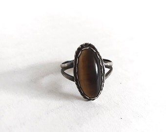 Sterling and Tigers Eye Ring Sz 6