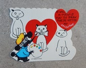 Unused 1950's Valentines   Dog Drawing a Cat   Valentines Day Card   Made in USA
