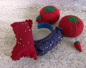4 Vintage Pincushions, 2 tomato pin Keeps, 2 wrist band pin cushions, vintage sewing notions, Sewing Supplies, Shabby Chic, 4 pinkeeps, SB9