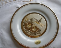 Chokin 24 kt gold plate, made in Japan. Beautiful hummingbird on flowers. Signed.