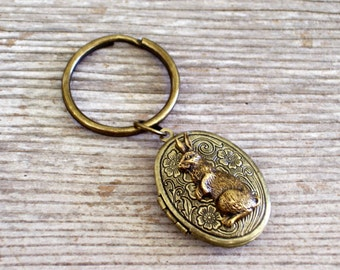 Bunny Locket Keychain, Brass Floral Locket, Flower Locket, Rabbit Locket, Oval Brass Locket, Antiqued Brass Plated Key Ring