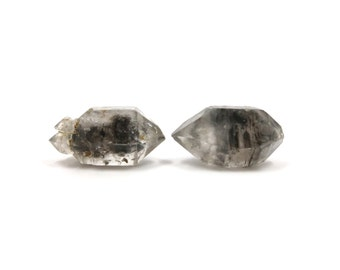 Tibetan Quartz 2 Raw Crystals Double Terminated 25mm and 26mm x 14mm Natural Rough Stones for Wire Wrapping & Jewelry Making (Lot 8007) Pair