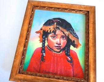 Framed Original Artwork Girl with Red Sweater - Floyd Jones Vintage