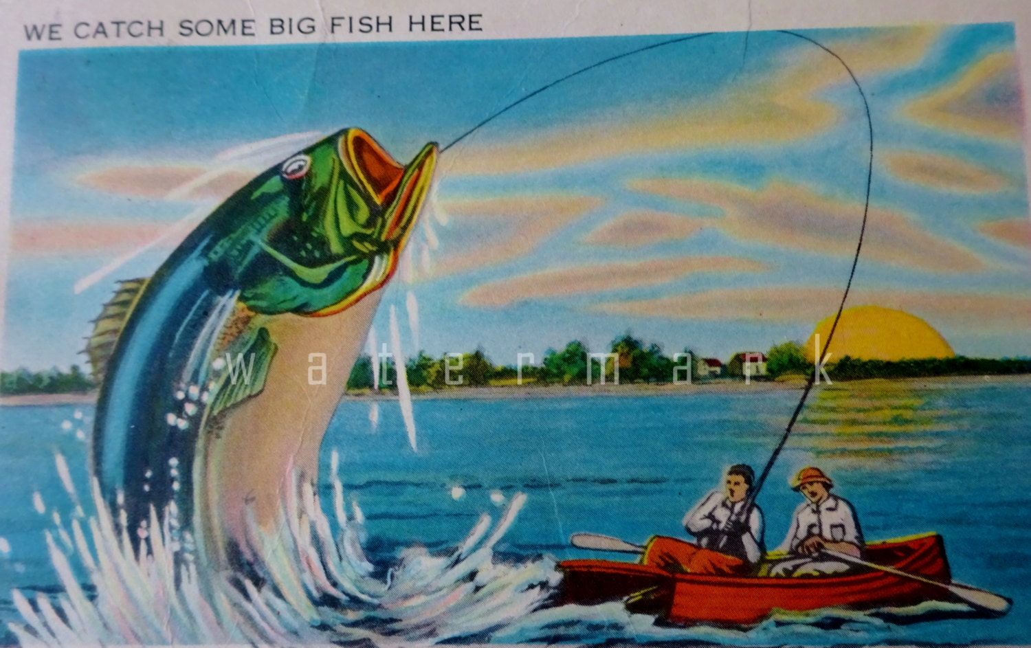 Vintage postcard we catch big fish here man catching a huge for Catching the big fish