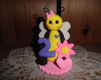 Polymer Clay Bee - Personalized Girl's Second Birthday Bee Cake Topper/Keepsake/Gift