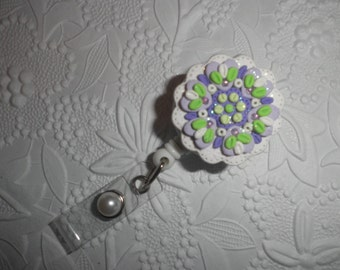 Polymer Clay Flower - Professional Retractable ID Badge Reel With Flower of Kaleidoscope Colors