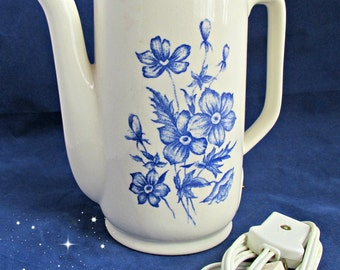 Destash UpCycle Ceramic Coffee Tea Pot Blue ReCycle Crafts Project