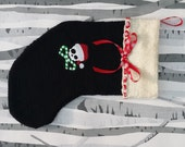 Kawaii Skull with Crossed Candy Canes Hand Knitted Christmas Stocking Gothic Xmas Decoration