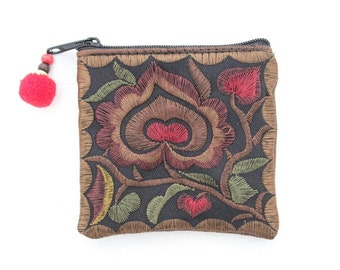 Tiny Coin Purse Flower Pattern Embroidered Fabric Thailand (BG4573CP-MOF)