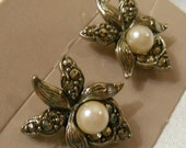 Avon Romantic Blossom Pierced Earrings Silver Tone with Marcasite Stones and Pearls