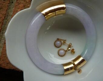 Quality 14k 1930s Natural transluscent Soft LAVENDER Jadeite JADE dangle earrings