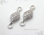 2pcs White Cubic Zirconia Excellent Quality Rhodium Plated Jewelry Findings // 5mm x 9.5mm (14.5mm including Loop) // 1198-BR