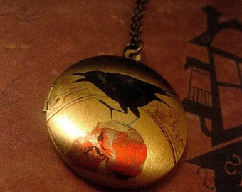 Crow Necklace - Locket - Bird On Skull - Gothic - Image Locket - Custom Chain Length