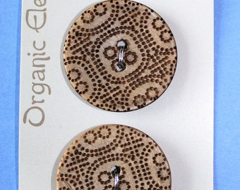 Organic Elements Tribal Pattern Sew Through Button Coconut Shell