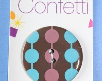 Confetti Circles Brown 2 Hole Sew Through Button 1-3/8''