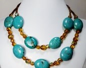 Turquoise and Amber Double Strand Necklace