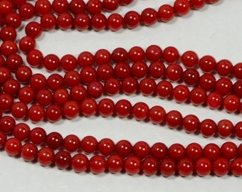Red Coral 3.4mm Coral Bead Strands Craft Supplies Jewelry Making Supplies