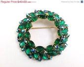 25% OFF, Huge Vintage Emerald Green Rhinestone Brooch Aurora Borea