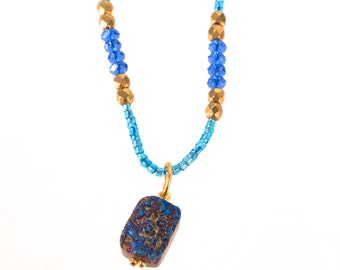 Royal Blue Druzy with Teal Blue, Royal Blue and Gold crystal Beads- Super Long Necklace-Wrap Neclace-Convertible Necklace