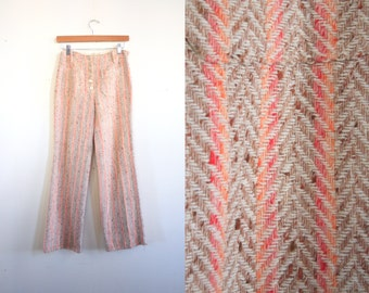 1970s cotton candy woven button-fly pants with wide leg and square pockets // 27 in. waist at natural waistline